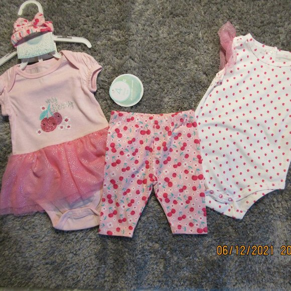 Nannette baby girls 4 piece summer outfit 6-9 mon